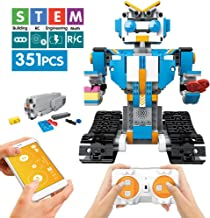 Mould King STEM Remote Control Building Block Robot Set for Kids Intelligent Building Kit 6-13 Years Old Boys Girls Gift (351 Pieces Blue)