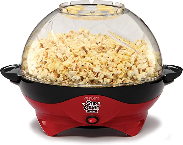 West Bend 8231 Stir Crazy Deluxe Electric Hot Oil Popcorn Popper Machine With Removable Heating Plate For Easy Cleaning Offers Large Lid For Serving Bowl Convenient Storage 6 Quart Red