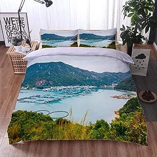 HOOMORE Bed Comforter - 3-Piece Duvet -All Season, Lamma Island sea Village Hiking Road Nature Landscape in Hong Kong,HypoallergenicDuvet-MachineWashable -Twin-Full-Queen-King-Home-Hotel -School