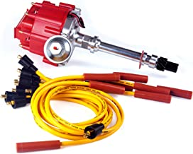 Brand New Compatible Ignition Distributor w/ Cap & Rotor and Spark Plug Wires Ignition Combo Kit GM08 GM08WIRE for Chevy SBC 350 BBC 454 HEI DD-SBC-HEI-V8 850001R GM08