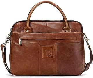 "Leather Bag Mens Men's Leather Handbag 13""Computer Bag Business Briefcase Simple Practical Business Bag High Capacity (Color : Brown, Size : S)"