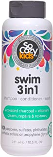 SoCozy Swim 3 In 1 Shampoo + Conditioner + Body Wash - Activated Charcoal Cleanses & Repairs Hair damaged by Pool chemicals, Saltwater, The Sun - Loco Lime Scent, 10.5 Fluid Oz
