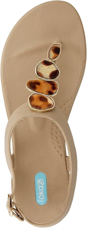 Nova Nova Nova Flip Sandal skor med Ankle Strap av OkaB Färg Chai med Leopardknappar  låga priser