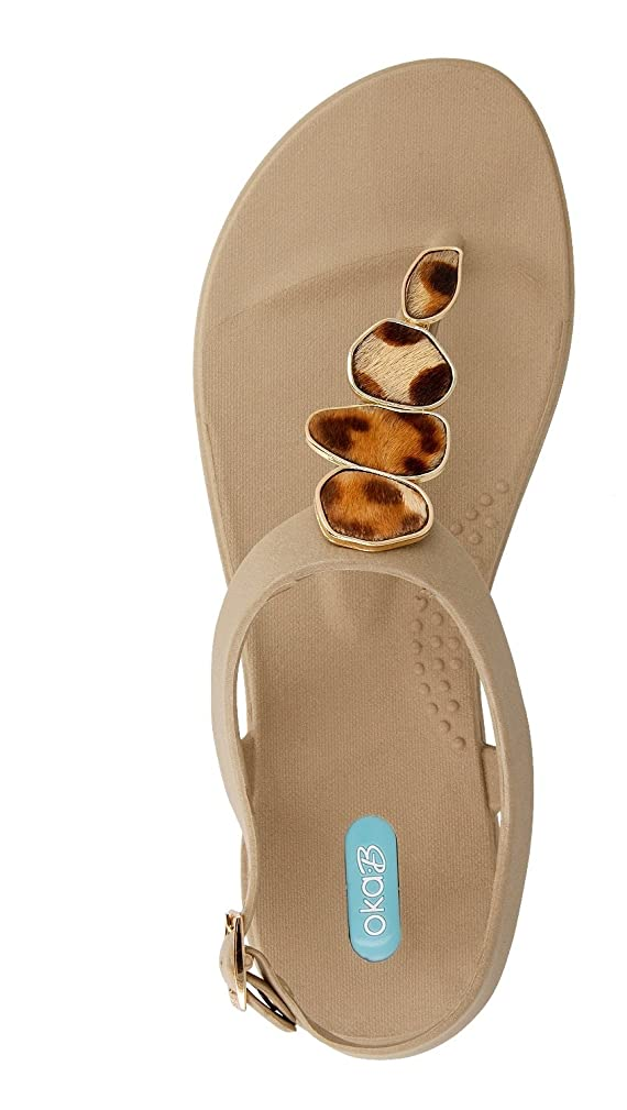 Nova Flip Flop Sandal Shoes with Ankle Strap by OkaB Color Chai with Leopard Buttons