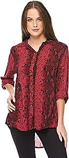 Diva London Medi Print Long Sleeve Shirt - M/L, Wine