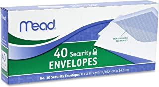 Mead #10 Security Envelopes, 40 Count (75214) Pack Of 12 = 480 Envelopes