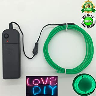 ShineWorld EL Wire Kit,Portable Neon Light El Wire with Battery Pack for DIY Halloween Christmas Party Decoration (9FT, Green)
