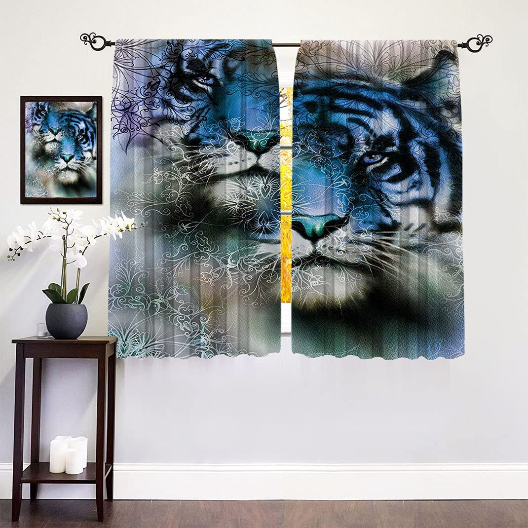 Animal Decor Thermal Ranking TOP9 Insulated Super special price Curtains Safari Afr Tiger Two Cat