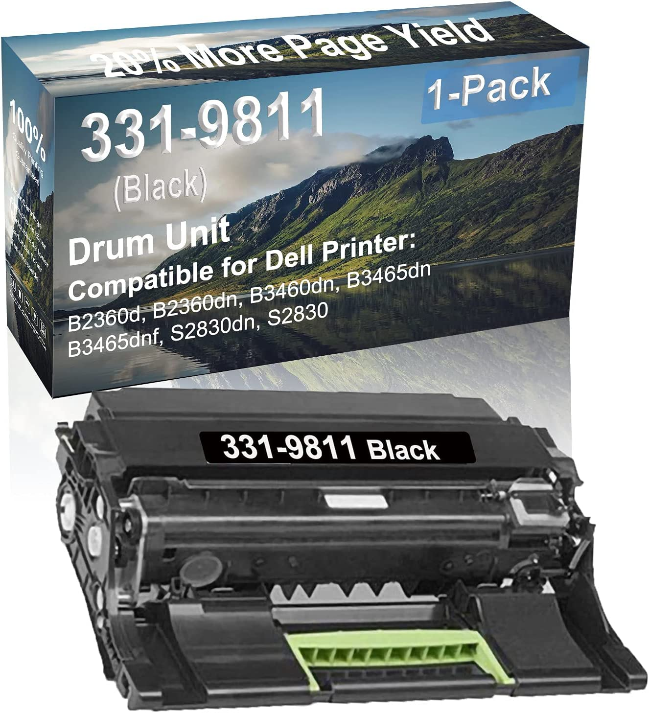 1-Pack Compatible Drum Unit (Black) Replacement for Dell 331-9811 Drum Kit use for Dell B3465dnf, S2830dn, S2830 Printer