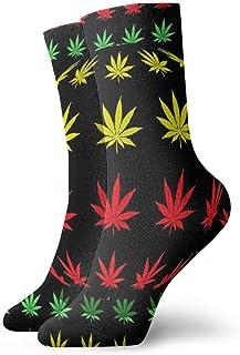 wwoman, Novedad Funny Crazy Crew Sock Reggae Rasta Flag Lion Marijuana Leaf Impreso Sport Calcetines deportivos 30cm de largo Calcetines personalizados de regalo