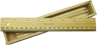 Coloured pencil set with engraved wooden ruler with name Sprout (first name/surname/nickname)