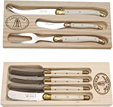 Laguiole 4pc Spreaders and 3pc Cheese Set with Ivory handles in Wooden Boxes Plus Bonus Kitchen Towels