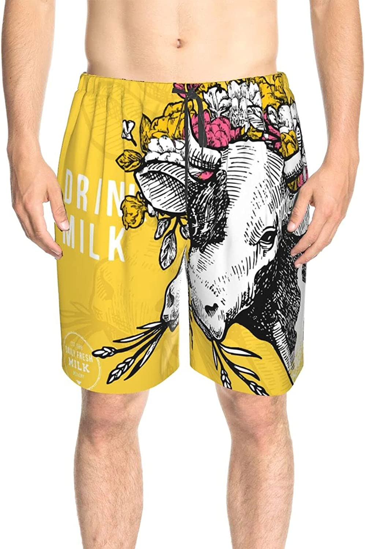 JINJUELS Men's Swim Shorts Drink Milk Cow Flower Hat Swim Board Shorts Quick Dry Cool Summer Beach Shorts with Liner