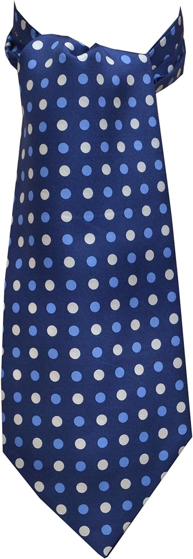Remo Sartori Made in Italy Men's Silk Blue and White Polka Dots Self Cravat Ascot Tie Cachecol