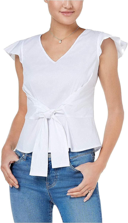 BCX Women's Jr TieWaist FlutterSleeve Top White Large