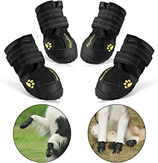 RoyalCare Protective Dog Boots, Set of 4 Waterproof Dog Shoes for Large Dogs - Black