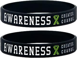 Inkstone (12-Pack) Green Awareness Ribbon Silicone Wristbands - Wholesale Pack of 1 Dozen Bracelets
