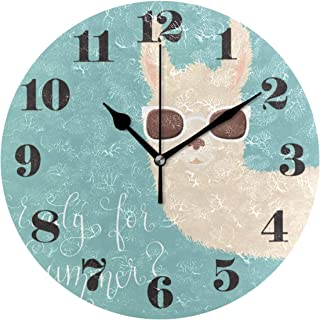 senya Wall Clock Silent Non Ticking, Round Llama in Sunglasses Art Clock for Home Bedroom Office Easy to Read