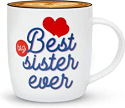 Gifffted Best Big Sister Ever Coffee Mug, Funny Sisters Day Gifts From Sister or Brother, Birthday Gift Ideas For My Worlds Greatest Older Adult Sister, Christmas Present Mugs, Valentines, Cup