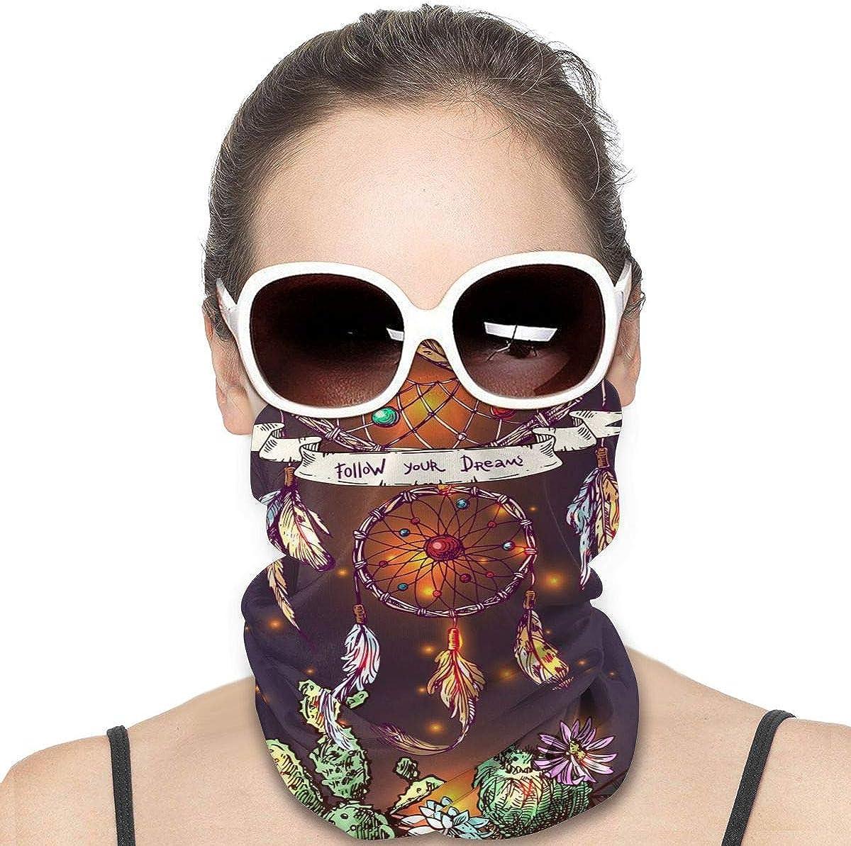 KiuLoam Women Bandanas Face Mask, Fantasy Dreamcatcher Neck Gaiter Mask Headband for Men Face Scarf Dust, Outdoors, Sports