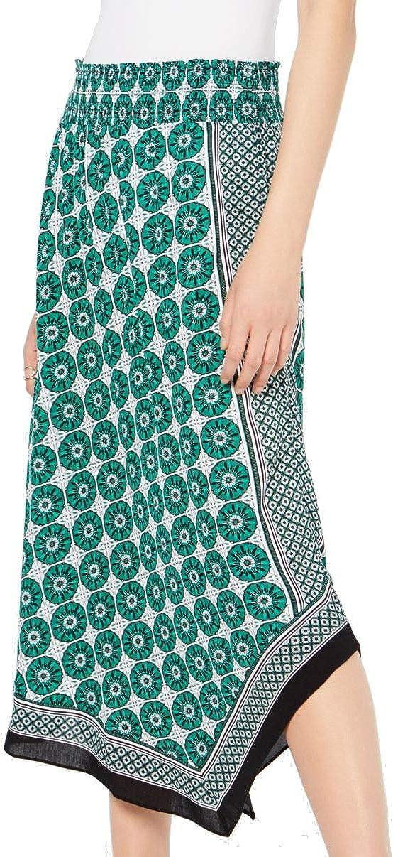 INC Womens Printed Pull Up Asymmetrical Skirt Green XL