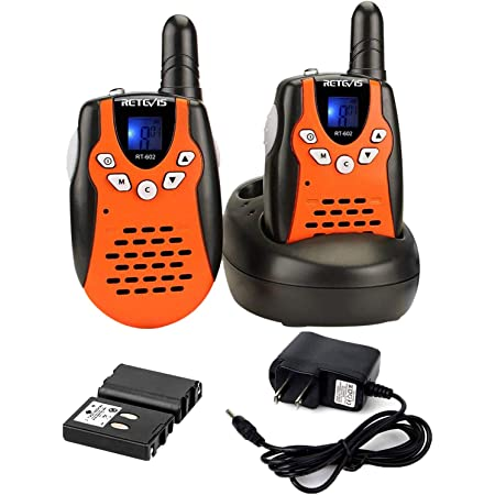 Retevis RT-602 Rechargeable Walkie Talkies with Charging Cable,22 Channel VOX Walkie Talkies for Kids,3-12 Years Old Toys for Outdoor Adventures,Camping(Orange, 1 Pair)