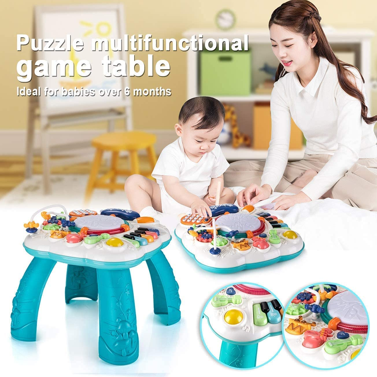 THISMY Learn and Groove Musical Table - Mum and baby with the multifunctional game table