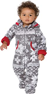 PajamaGram Toddlers and Infant Hoodie-Footie Fleece Onesie Pajamas