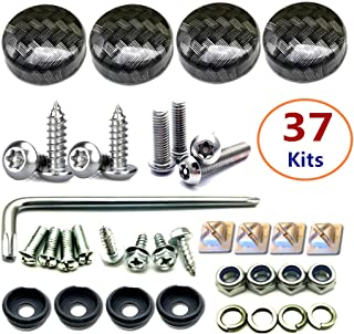 BGGTMO License Plate Screw Caps ABS Carbon Fiber Pattern and Stainless Steel Anti Theft Screws for Matching Carbon Fiber License Plate Frame 37 Sets