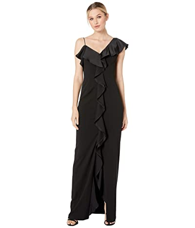 Adrianna Papell Flounce Knit Crepe Evening Gown (Black) Women