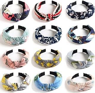 WillingTee 12 Pack Wide Headband Knot Turban Headbands Boho Headbands for Women Vintage Flower Printed Criss Cross Elastic Head Wrap