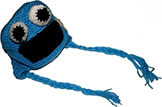 COOKIE MONSTER SESAME STREET HAT Baby Newborn to 18 Months Boy Girl Cute Handmade Crochet Cotton Knit Beanie Cap Hats Diaper Cover Costume Set Photography Photo by BubuBibi
