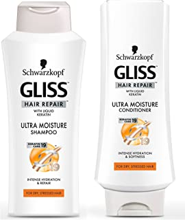 GLISS Hair Repair Ultra Moisture Set with Shampoo and Conditioner for Dry, Stressed Hair, Set of 2