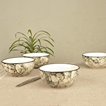 StyleMyWay Grey Handpainted Snacks Cereal Rice Bowl Set Cum Dining Table Serving Bowls in Ceramic-Set of 4 | Salad Bowl | Ceramic Snacks Serving Bowl