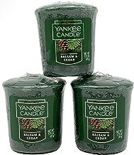 شموع من ثلاث قطع من Yankee Candle Samplers Votive (بلسم وأرز الأرز)