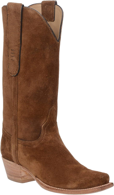 Lucchese Womens Romia Handmade Crocodile Snip Toe Boots Mid Calf Low Heel 1-2