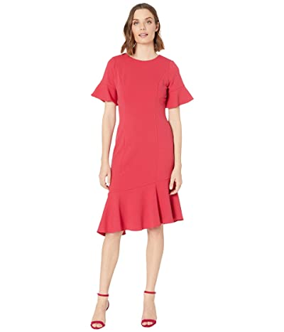 Adrianna Papell Knit Crepe Ruffle Midi Dress w/ Bell Sleeve (Warm Cherry) Women