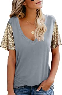 Topstype Women's Sequin Short Sleeve Tee V Neck T Shirts Glitter Sparkles Loose Blouse Tops