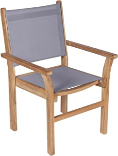 Royal Teak Collection CAPG Captiva Sling Stacking Chair, Gray