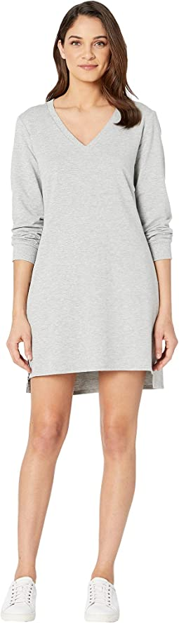 Zip Side V-Neck Sweatshirt Dress