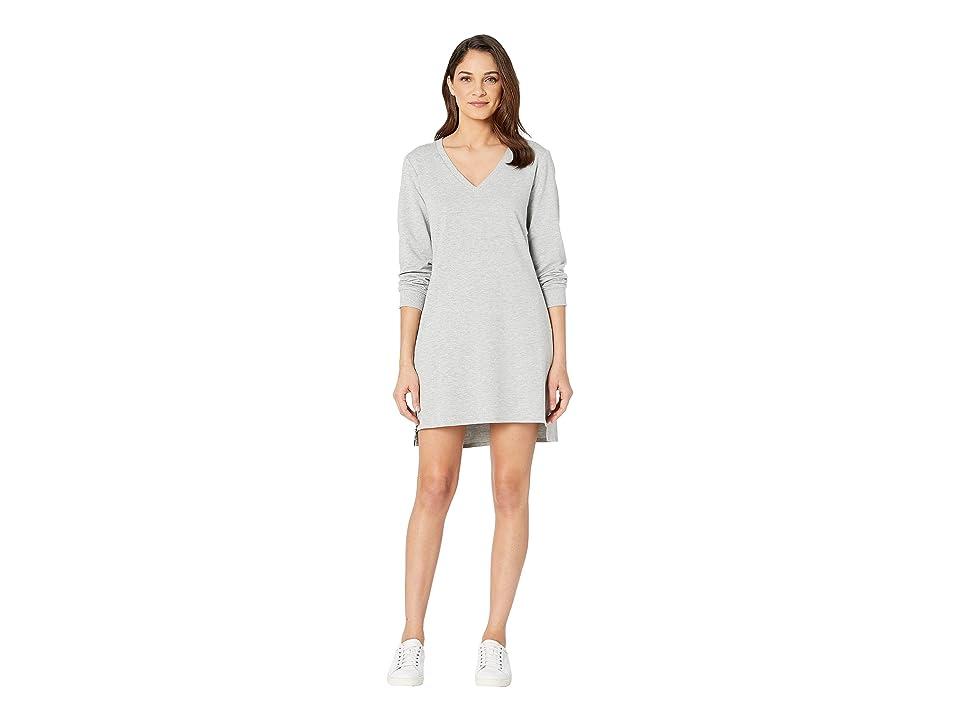 Bebe Zip Side V-Neck Sweatshirt Dress (Heather Grey) Women