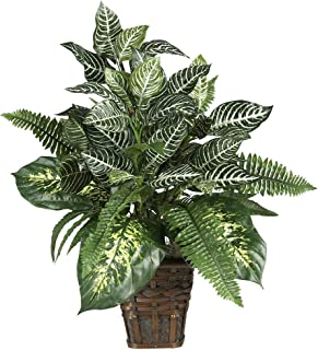 Nearly Natural 6528 Greens Zebra with Wicker Decorative Silk Plant, Green