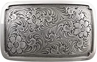 Floral Engraved Sterling Western Replacement Belt Buckle
