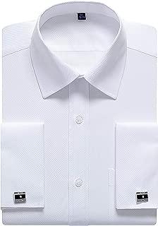 Alimens & Gentle Men's French Cuff Dress Shirt Regular Fit(Cufflinks Included)