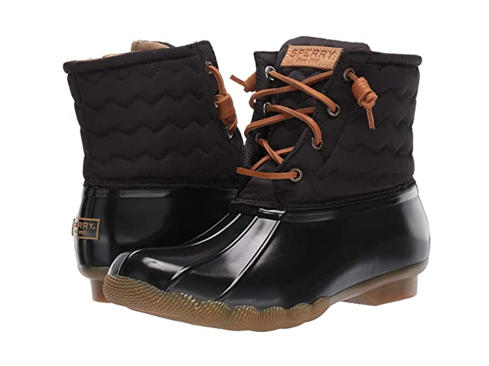 Sperry  Saltwater Chevron Quilted Nylon (Black) Womens Rain Boots
