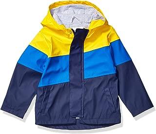Spotted Zebra Amazon Brand Boy's Rain Coat Jacket, Yellow/Navy Colorblock, X-Small (4-5)