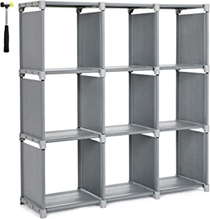 SONGMICS 9 Cube DIY Cube Storage Shelves Open Bookshelf Closet Organizer Rack Cabinet Gray