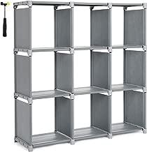 SONGMICS 9 Cube DIY Cube Storage Shelves Open Bookshelf Closet Organizer Rack Cabinet Gray