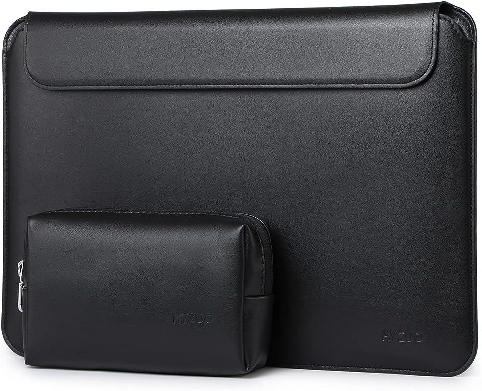 HYZUO 13 Zoll Laptop Hülle Schlank Laptophülle Kompatibel mit MacBook Air 13 M1 2018-2021/MacBook Pro 13 M1 2016-2021/iPad Pro 12,9 2018-2021 M1/Dell XPS 13/Surface Pro X 7 6 5 4, Schwarz (Lammleder)