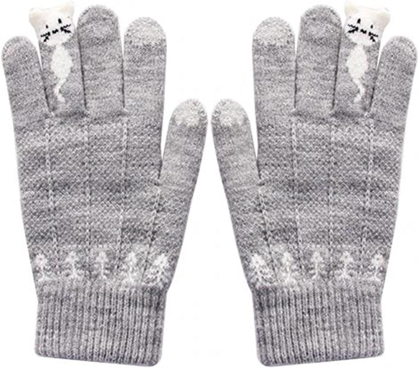 YSJJSQZ Winter Gloves Warm Winter Knitted Full Finger Gloves Mittens Women Cute Cartoon Cats Gloves Gloves (Color : Grey)